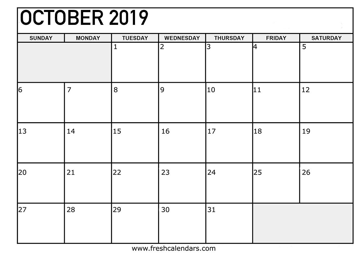 editable calendar october 2019