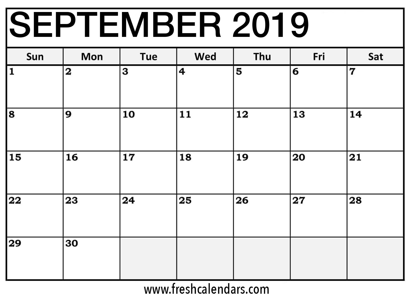 Sep 2019 Calendar Printable Templates