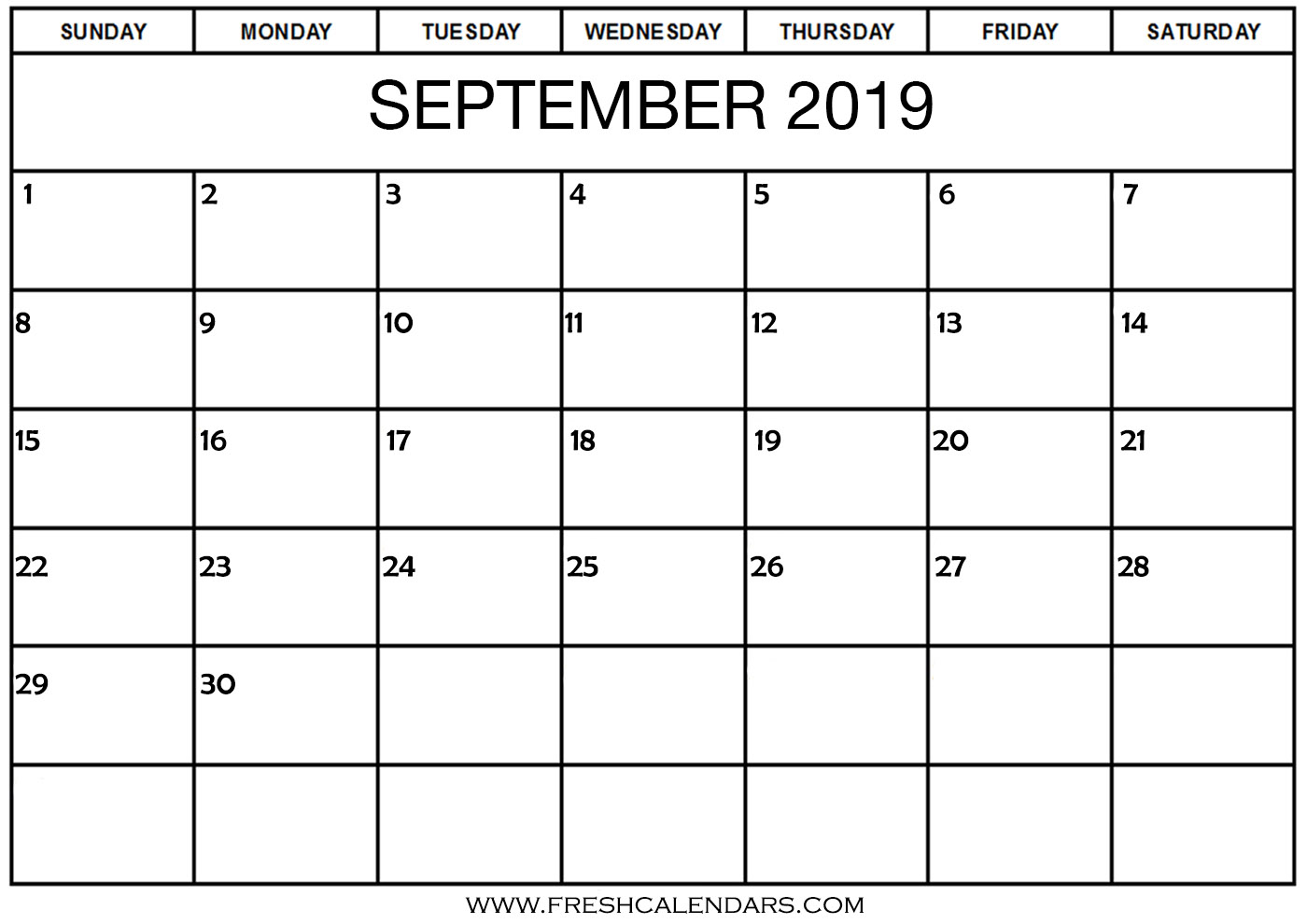 September 2019 Calendar Printable Templates