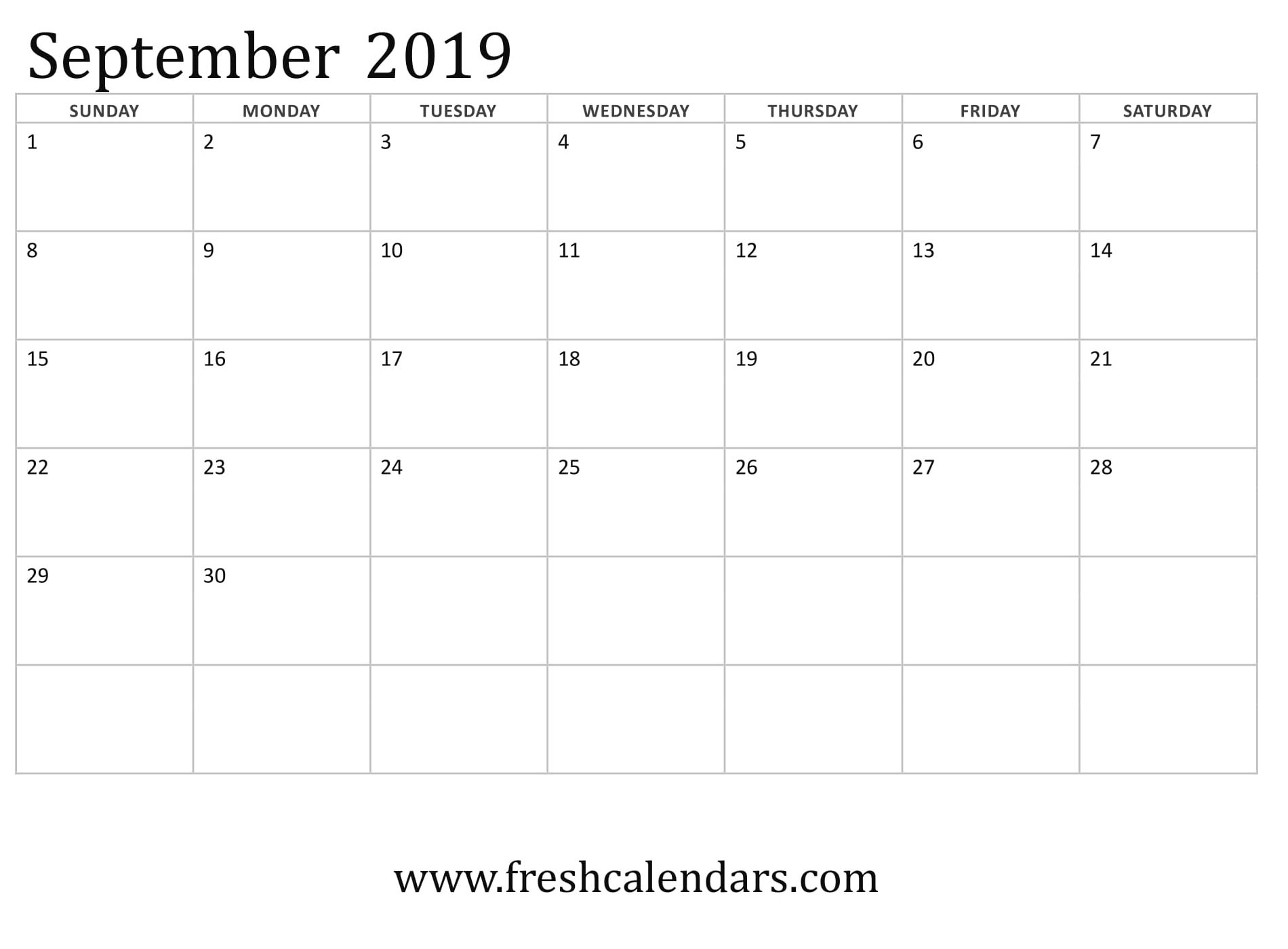 September 2019 Calendar Basic Template