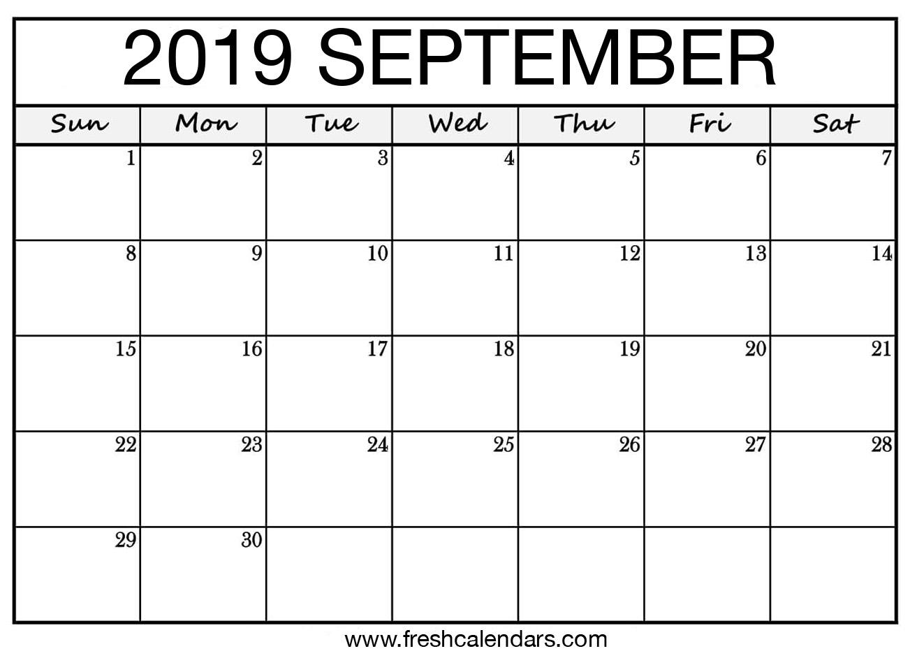 Sept 2019 Calendar Printable.September 2019 Calendar Printable Fresh Calendars