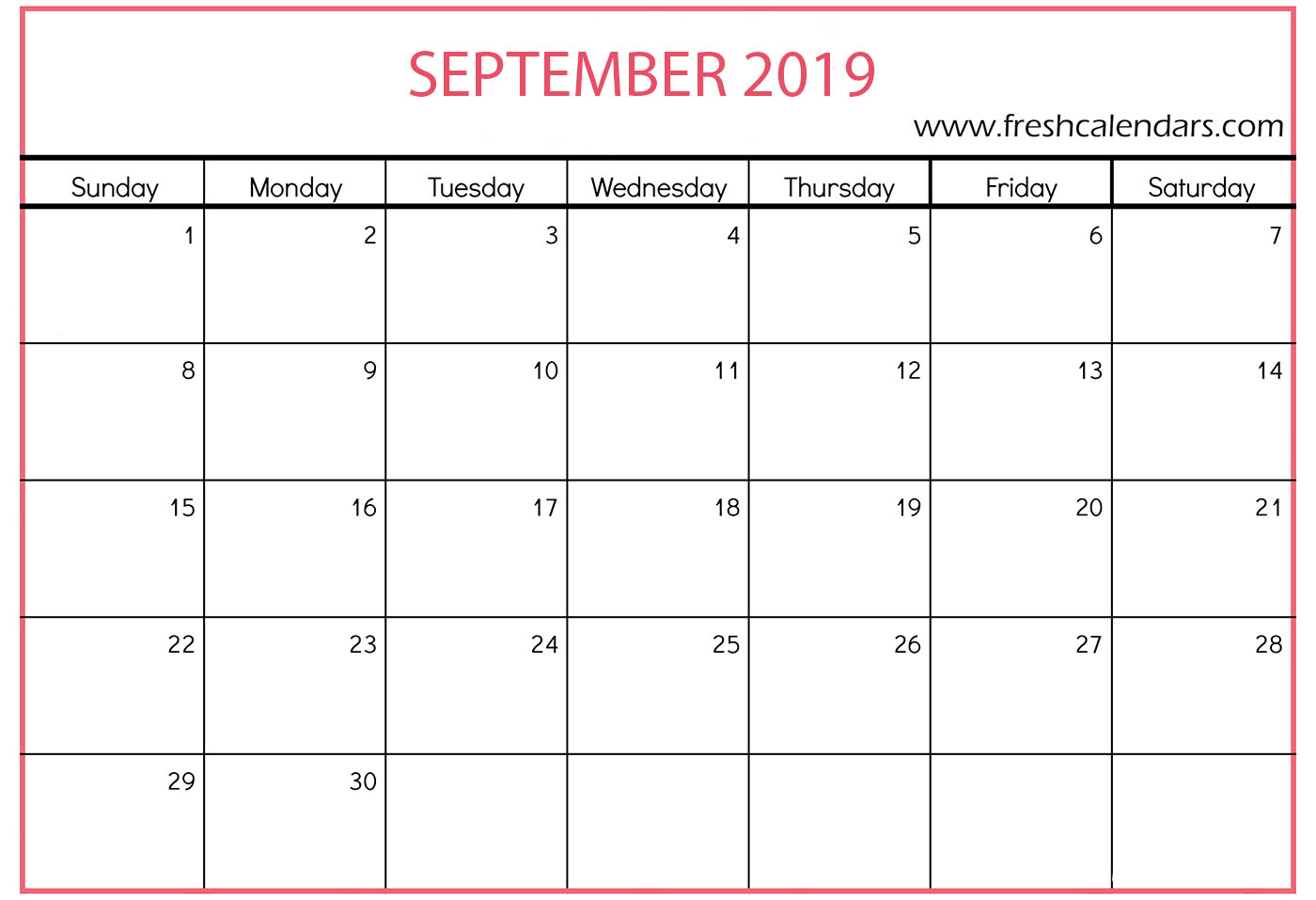 Blank September 2019 Calendar Printable Templates