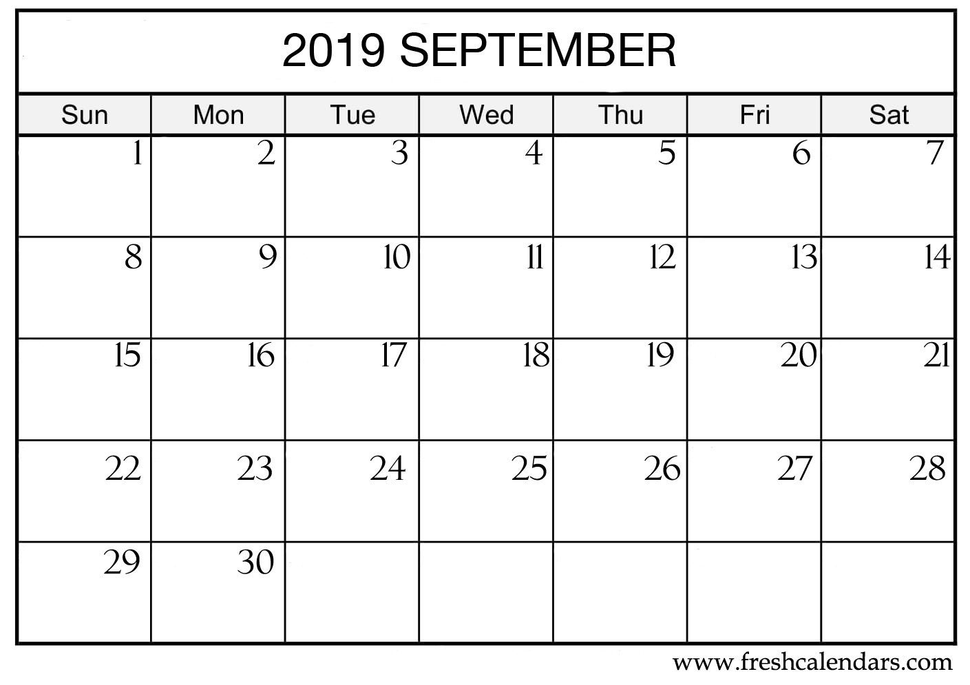 sep 2019 printable template