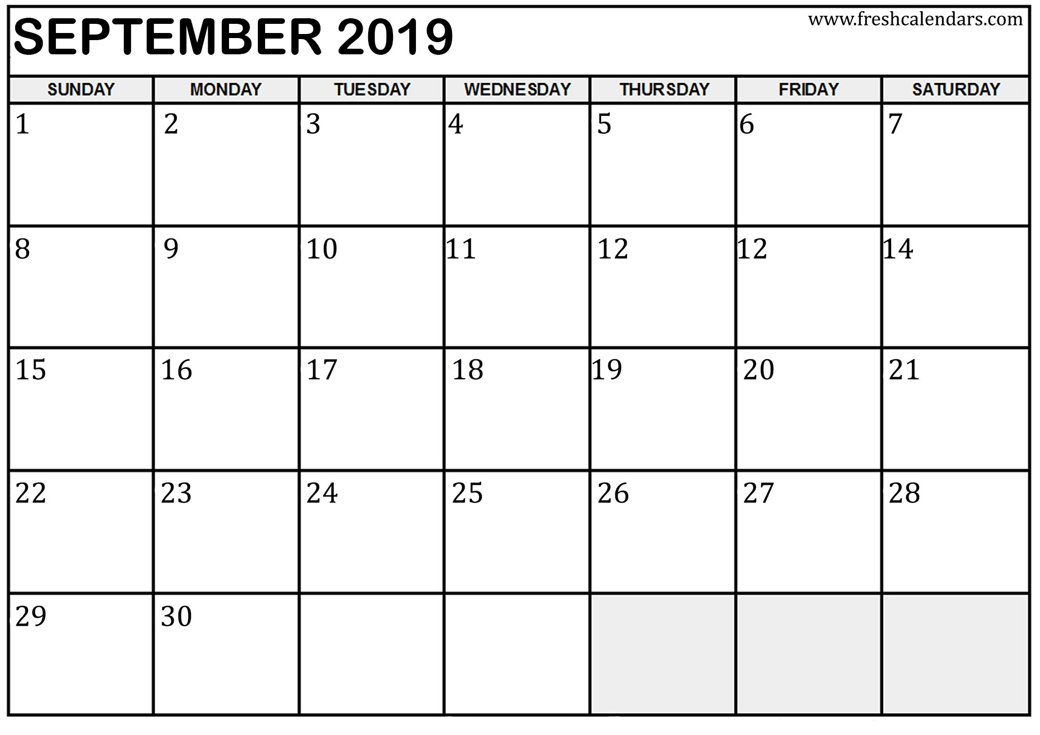 september 2019 calendar template online