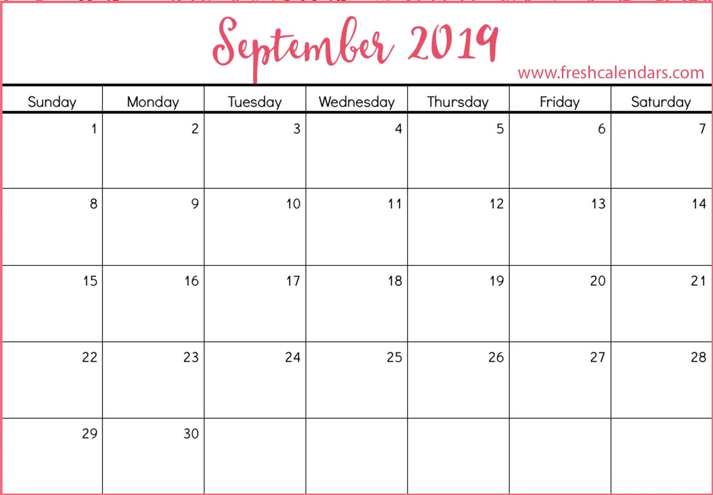 blank september 2019 calendar printable templates