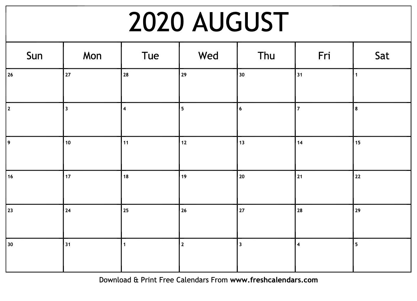 Blank Calendar August 2020.August 2020 Calendar Printable Fresh Calendars
