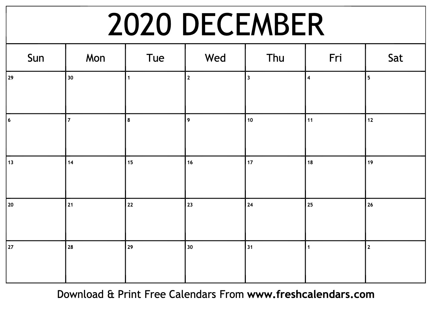 December Calendar 2020.December 2020 Calendar Printable Fresh Calendars