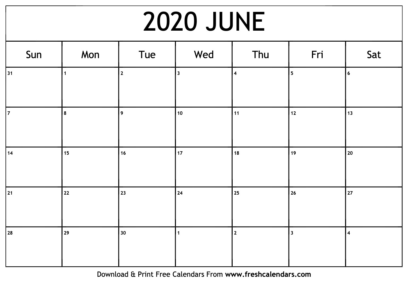 Calendar June 2020.June 2020 Calendar Printable Fresh Calendars