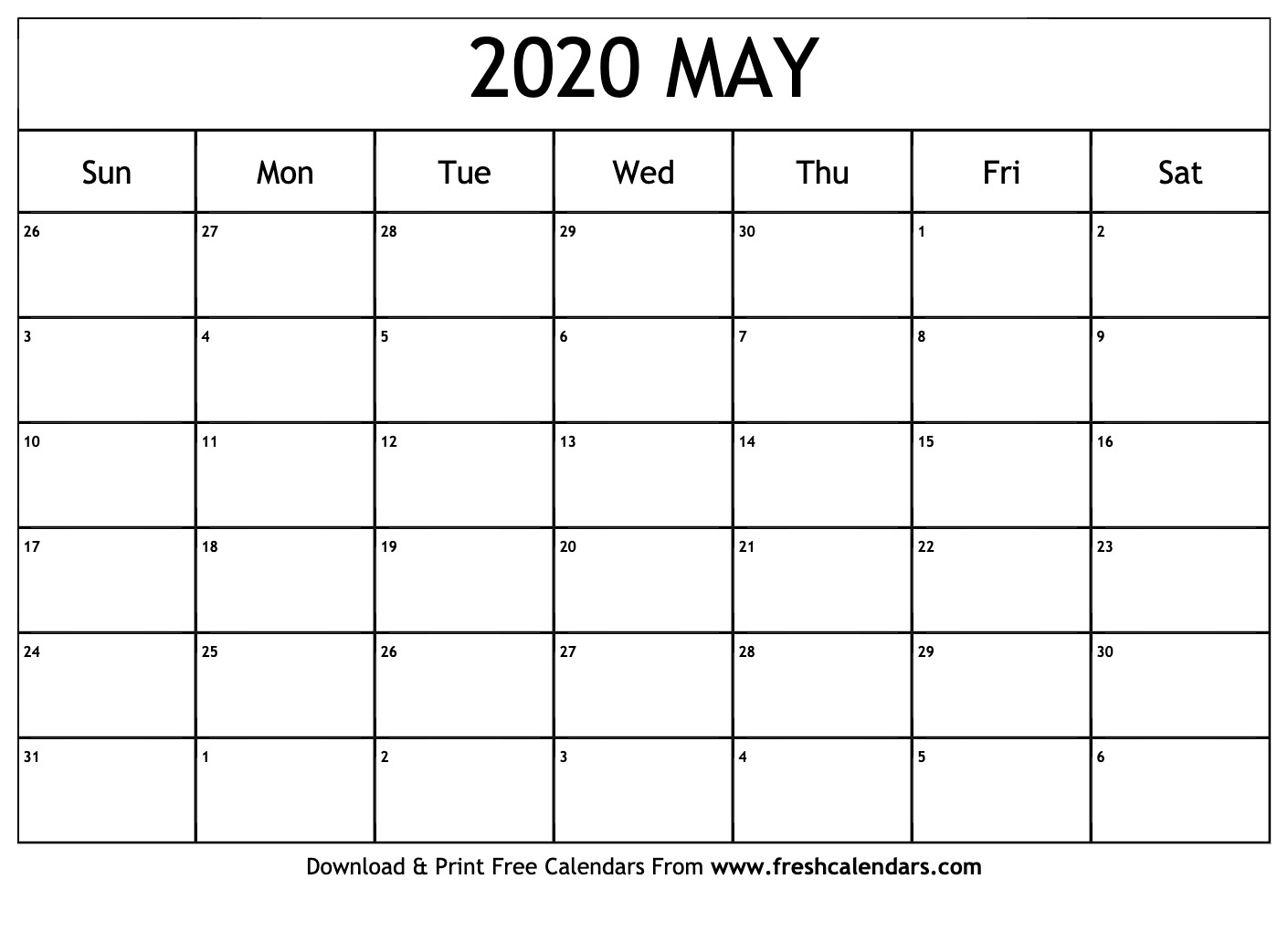 May Printable Calendar 2020.May 2020 Calendar Printable Fresh Calendars