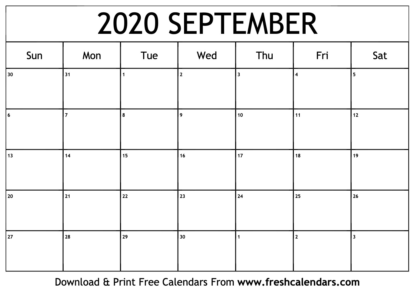 Free September 2020 Calendar September 2020 Calendar Printable   Fresh Calendars