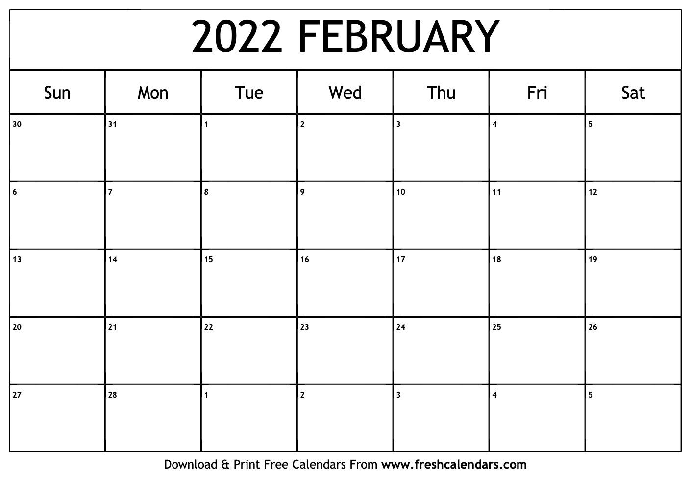 Blank Printable February 2022 Calendars