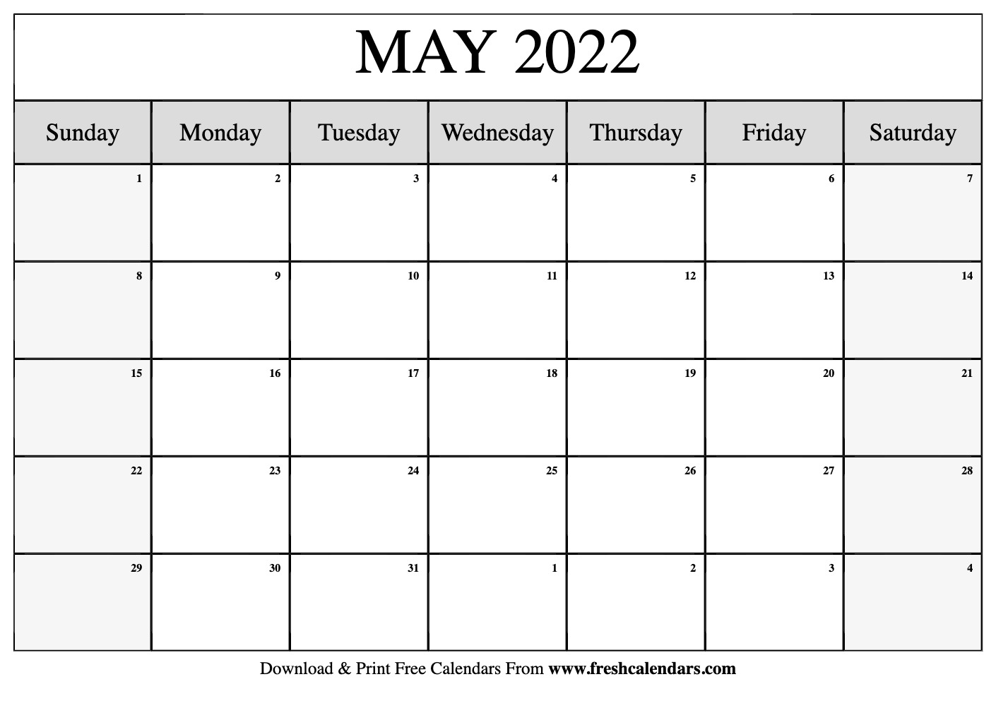 Blank Printable May 2022 Calendars