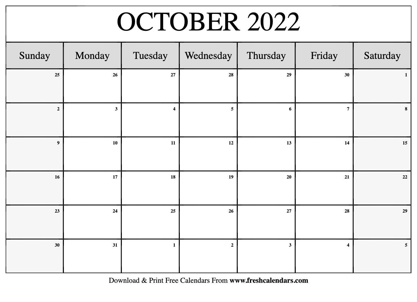 Blank Printable October 2022 Calendars