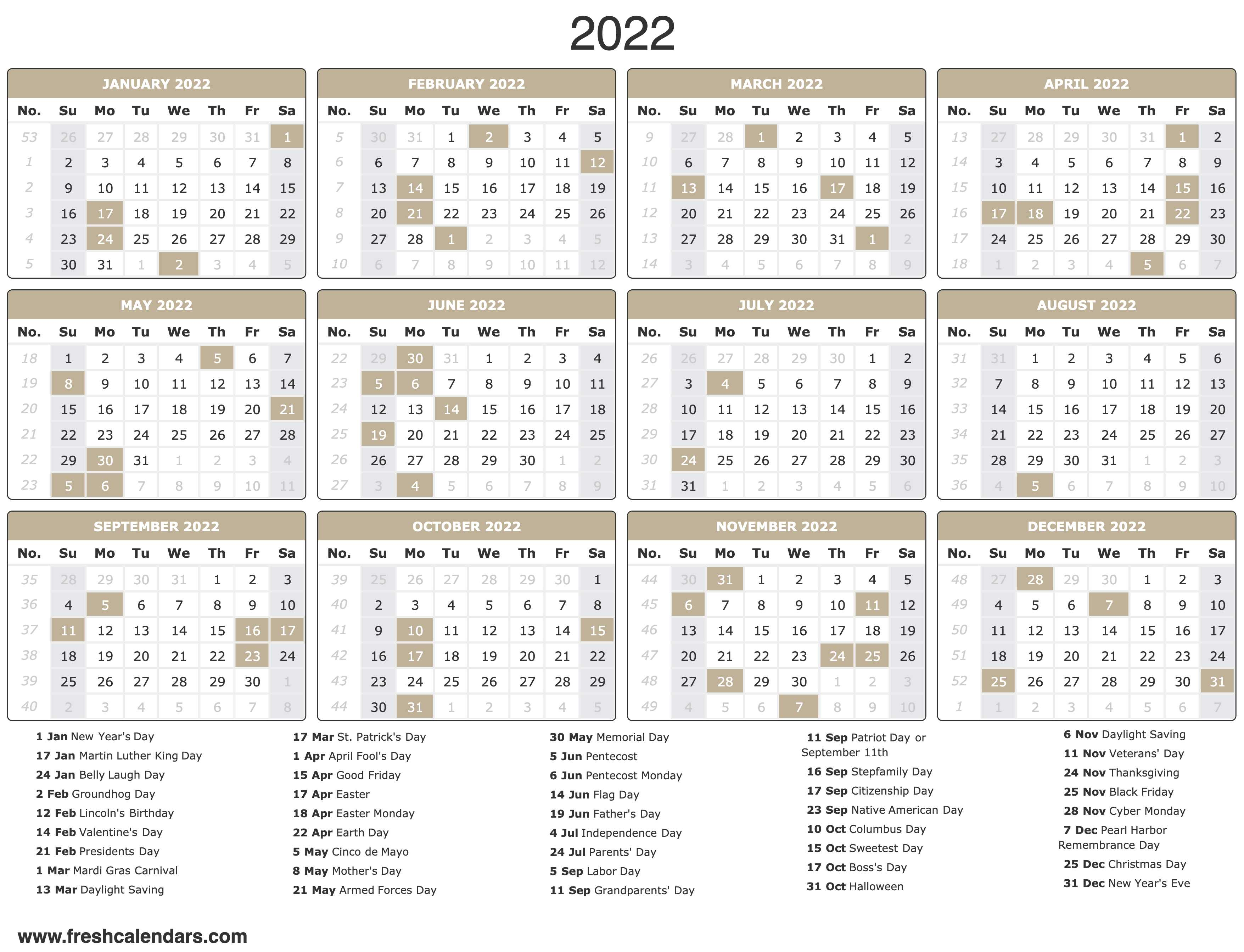 2022 Calendar With Holidays
