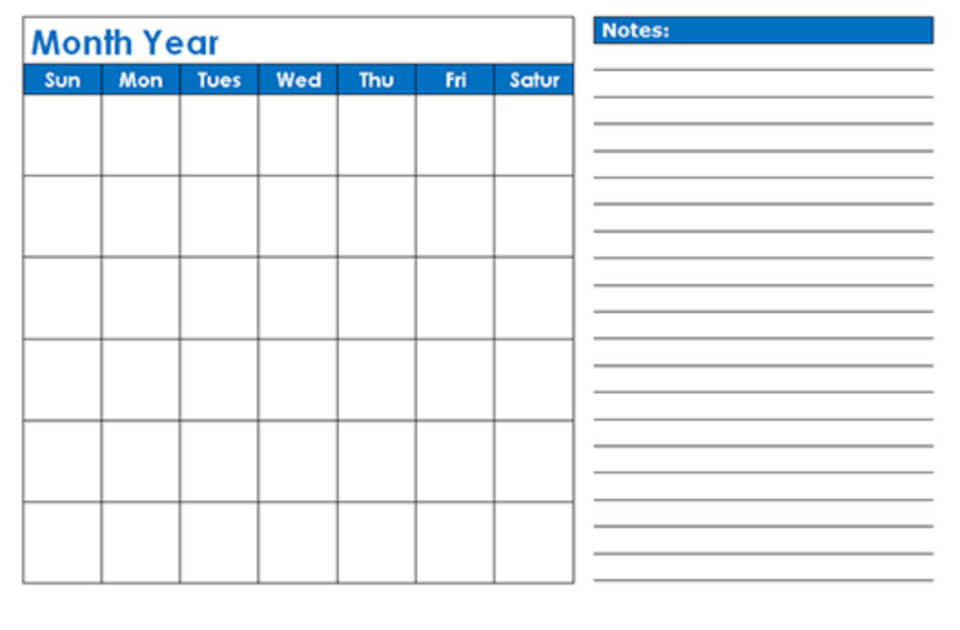 Printable 2019 blank monthly calendar at Calendarlabs