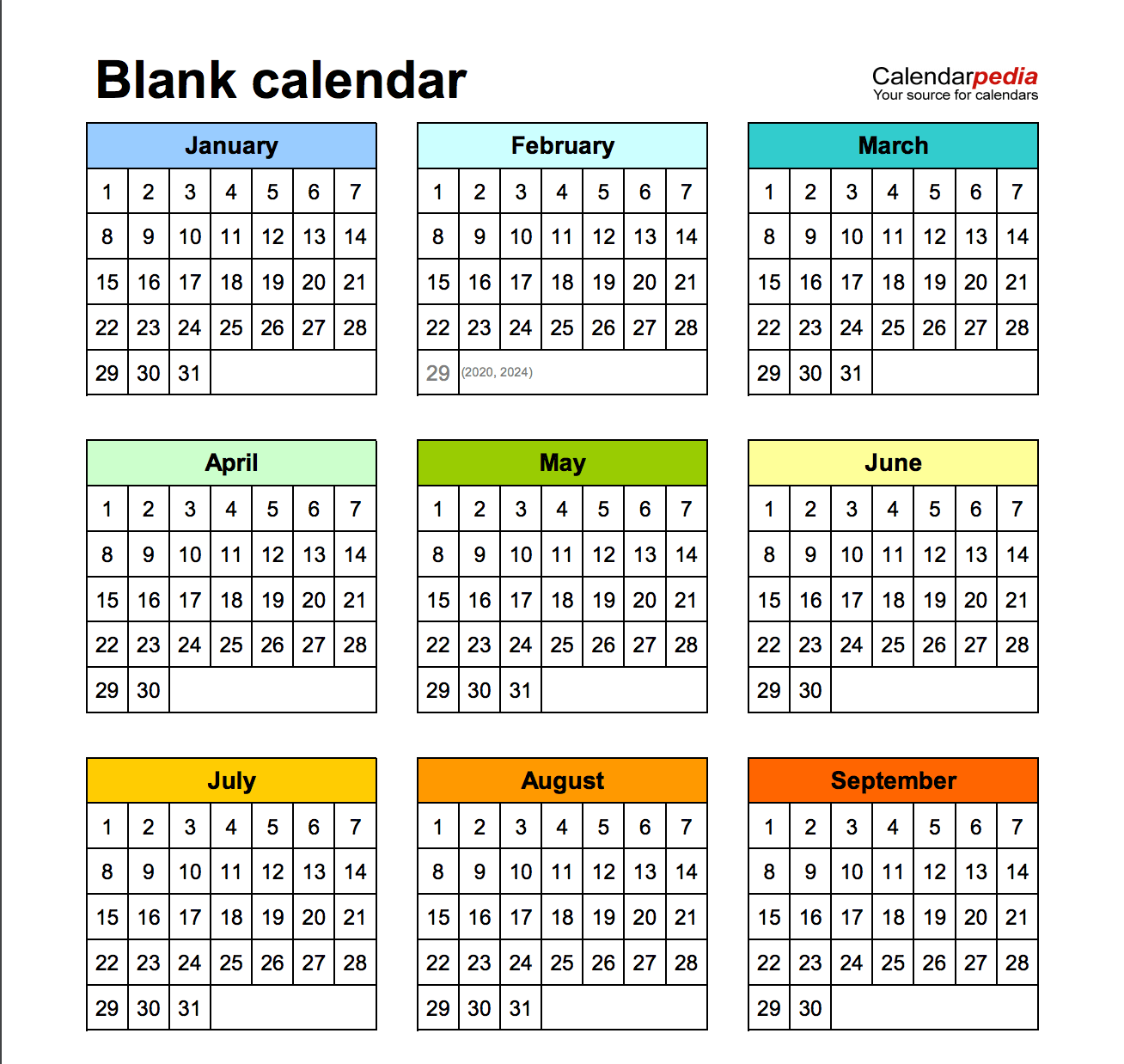 Printable blank calendar templates for Word in 9 different layouts (free)