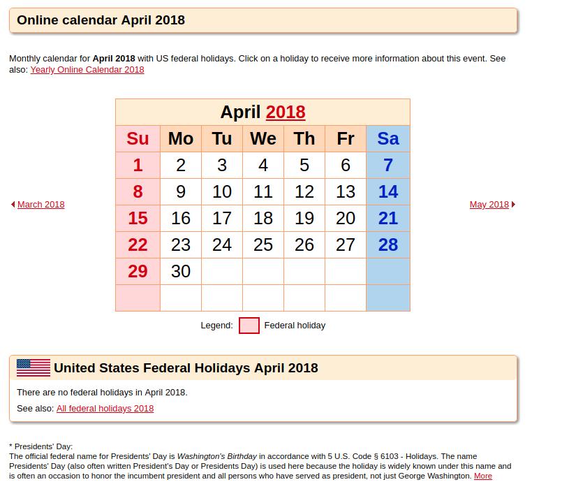 Word. PDF. Excel April 2018 Calendar Templates