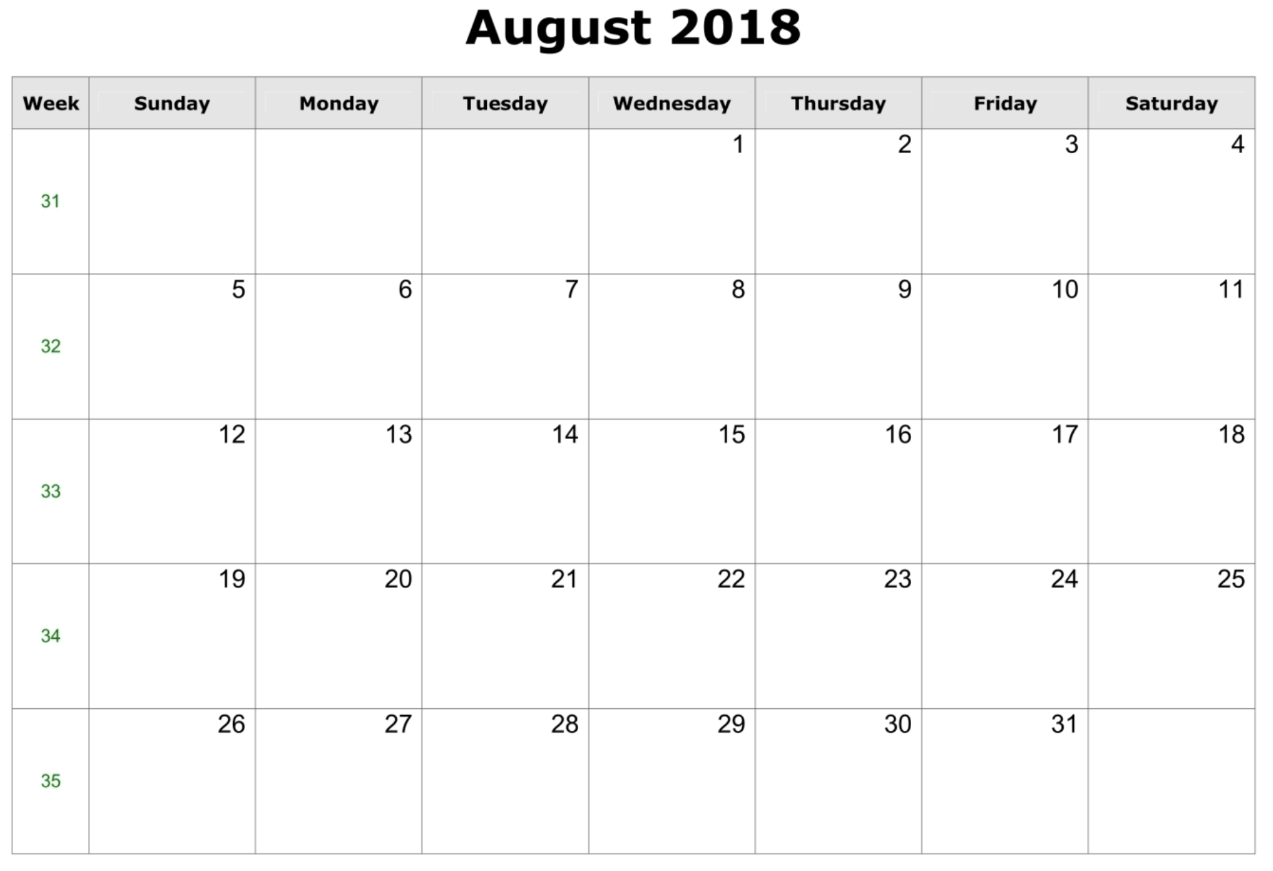 editable blank calendar 2019 templates for August