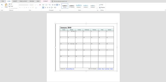 Waterproof Paper Printable Calendar